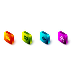 Set isometric website statistic and graphic vector