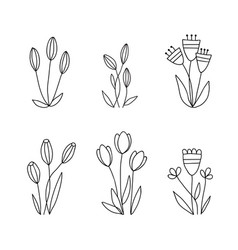 set of doodle flowers hand drawn floral elements vector image