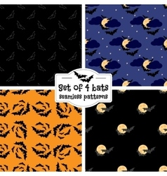Set of four bats seamless patterns vector image