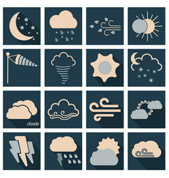 set of weather beautiful and estetic icons on vector image