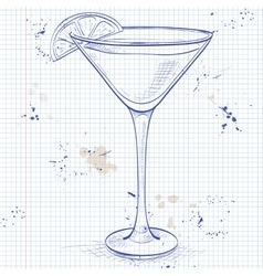 Sidecar cocktail on a notebook page vector