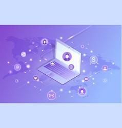 Social networking laptop set vector
