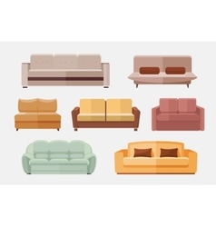 Sofa and couches furniture flat icons set vector
