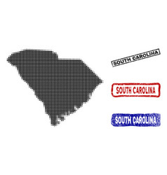 South carolina state map in halftone dot style vector