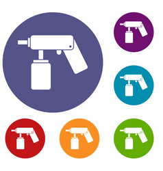 Spray aerosol can bottle with a nozzle icons set vector