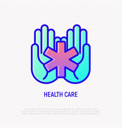 Star of life symbol in hands medical help icon vector