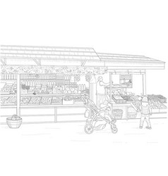 Street fruit and vegetable shop vector