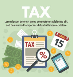 Tax time concept banner flat style vector