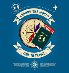time to travel banner or poster with compass vector image