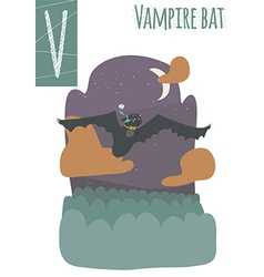 Vertical of vampire bat with colorful background vector