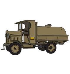 Vintage military tank truck vector