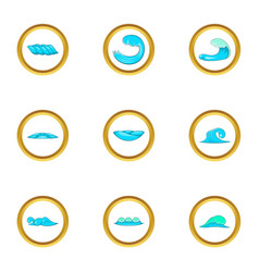 water wave icons set cartoon style vector image