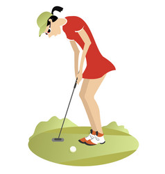 woman playing golf vector image
