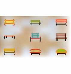 Wooden benches icons vector