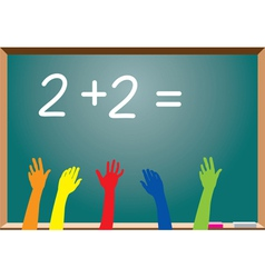blackboard and raised hands vector image vector image