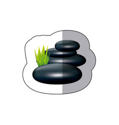 colorful spa volcanic rocks with grass icon vector image