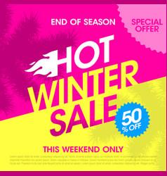 end of season hot winter sale banner vector image vector image