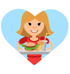 girl with a tray of food in his hands vector image vector image