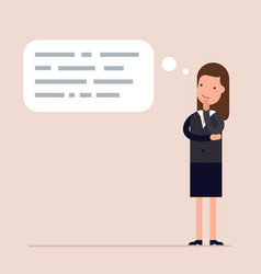 businesswoman or manager thinks abstract text in vector image vector image