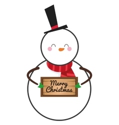 cute snowman holding sign icon vector image vector image