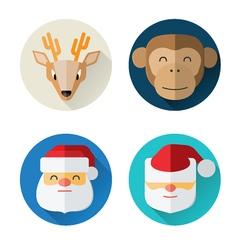 Flat Xmas square persons vector image