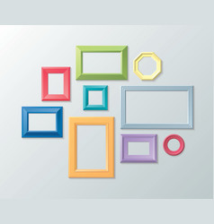 set of color photo frames on the wall vector image