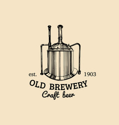 vintage old brewery logo kraft beer icon vector image vector image