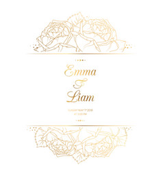 wedding invitation card template rose flowers gold vector image vector image