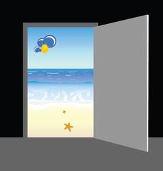 beach behind the door vector image