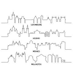 line art luxembourg helsinki monaco wellington vector image vector image