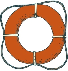 Red lifebuoy with rope vector