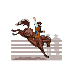 Rodeo Cowboy Riding Bucking Bronco Horse vector image