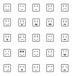 Square face icons on white background vector image
