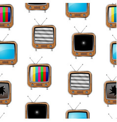 various retro televisions seamless pattern vector image