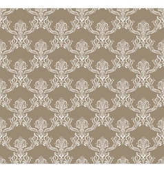 White Royal Flower Seamless Pattern on brown vector image vector image