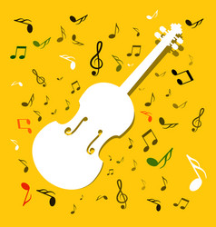 white violins with notes on yellow background vector image vector image