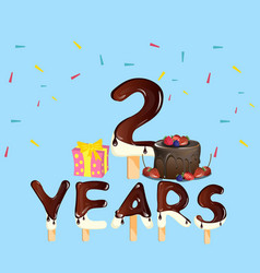 2 years anniversary celebration logo with gift vector