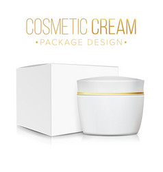 cream jar with package box clean cardboard vector image