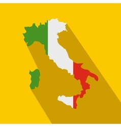 Map of Italy with national flag icon flat style vector image