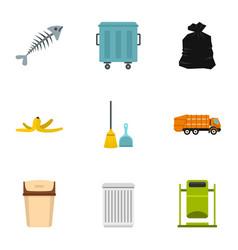 Waste utilization icons set flat style vector