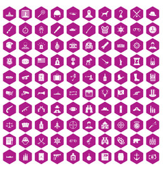 100 bullet icons hexagon violet vector image