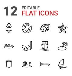 12 sea icons vector
