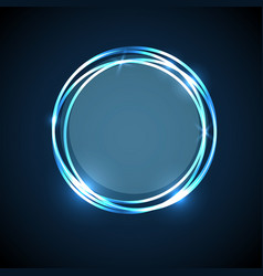 Abstract background with blue neon circles banner vector