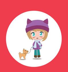 Beautiful cartoon chibi girl with pet vector