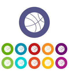 Black volleyball ball icons set flat vector