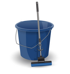 Blue bucket with a mop realistic object vector
