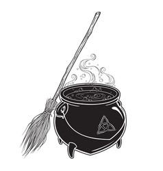 Boiling magic cauldron with broom vector