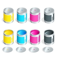 Bottles of ink in cmyk colors on white isolated vector