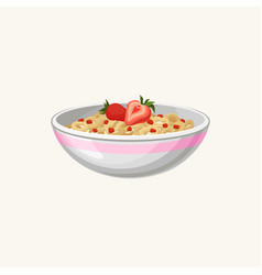 Bowl of corn flakes rings with milk and strawberry vector
