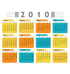 calendar 2010 english vector image